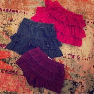 Girls BUNDLED 3 Ruffle Skirts/Skort set - 3T